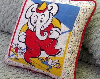 On Thin Ice vintage textile pillow