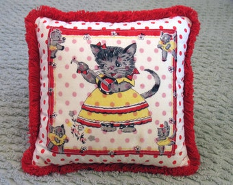 Miss Pickin' Kitty vintage childrens handkerchief pillow