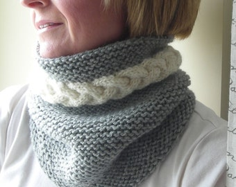 Knitting Pattern PDF - cowl neckwarmer men women - Cable Warmer -  Help support the Wounded Warrior Project