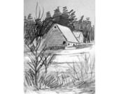 Winter Barn Pencil Drawing Art Print, Winter Landscape Sketch, Winter Snow Scene, Pencil Sketch Barn Art, Sketchbook Pencil Art, 7 x5  w/mat