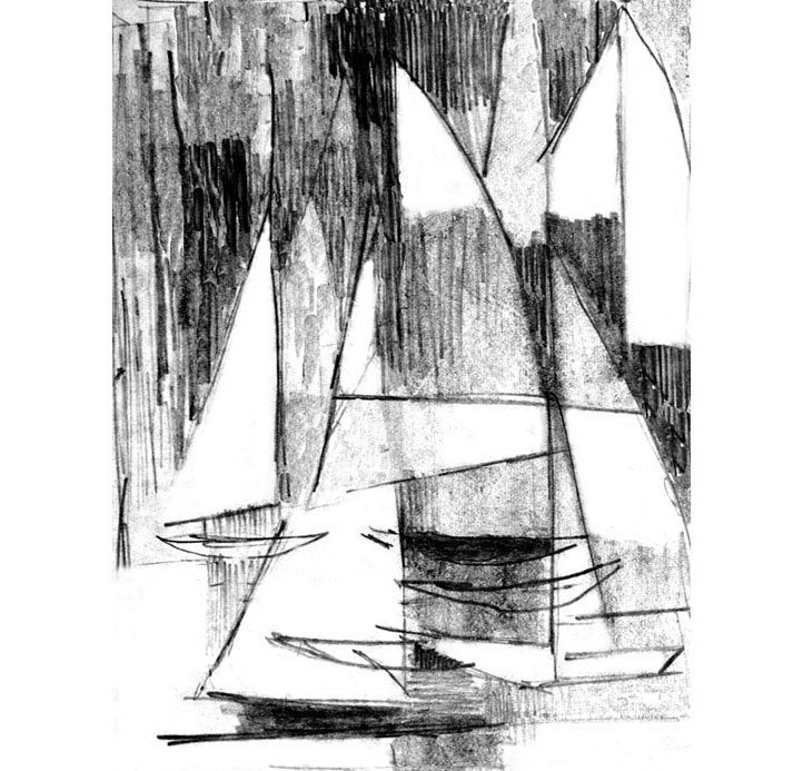 Abstract Sailboats Print Sailboat Regatta Pencil Drawing