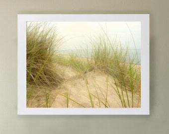 Calm - Art Print.  Beach photography.  Soft sand, beach grass, Lake Michigan, beach art, sand dunes.