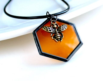 Queen Bee Honeycomb - Stained glass Necklace