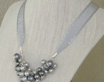 ON SALE BRIDESmaid Gift Pewter & Gray PEARL Cluster WEDDing Bridal Maid Of Honor Necklace By DYEnamite