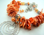 Burnt orange necklace, chunky orange necklace, orange pearl statement necklace