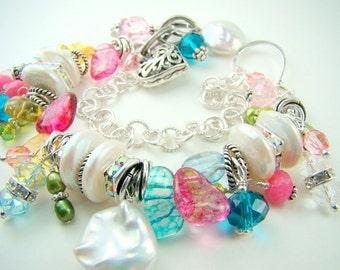 Pearl charm bracelet, crystal cha cha bracelet, multicolor bracelet, bright spring colors, chunky double strand bracelet... CONFETTI