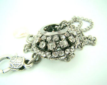 Rhinestone pendant necklace, rhinestone disco ball