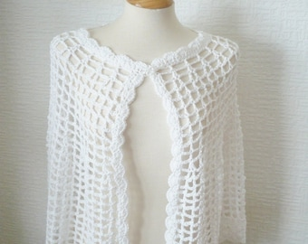 Womens Cape,Wrap Made in a Silky wool in the colour White