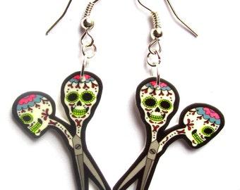 Scissor Earrings Sugar Skull Style by Dolly Cool