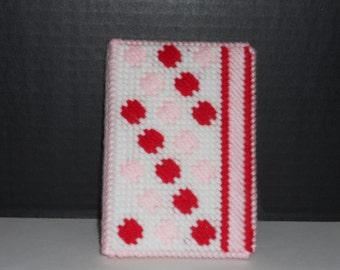 Mini Notebook Memo Pad Cover Polka Dot & Stripes Red Pink White Handmade Plastic Canvas