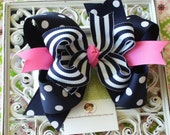 NEW-----Big Boutique Doubled Layered Hair Bow Clip-------Fancy Navy and Hot Pink----