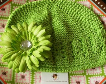 INVENTORY BLOWOUT---Boutique Baby Cap with Jeweled Daisy Clip---Fresh Lime--Fits 0-12 Months