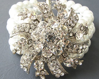 Bridal Jewelry Bridal Cuff Bracelet Pearl Wedding Jewelry Wedding Bracelet Swarovski Crystal Bracelet Bride Gift