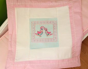 SALE Mommy and baby birdie mini blanket Pinks/blues Hand embroidered for that special girlie-personalized for you