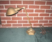 Vintage 1920s/30s Art Deco Industrial Adjustable Metal Desk Lamp with Cast Iron Stepped Base
