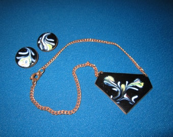 Vintage Mid Century Modern Copper Enamel Abstract Necklace and Earrings