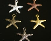 50 pcs Wholesale - Star fish Silver, Gold, bronze, copper, gunmetal charm, Drop, Pendant  - lead free, nickel free, cadmium free