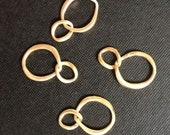 10 - Matte gold plated double curb rings charm- Connector - Link - Pendant - Matte Finish Lead free