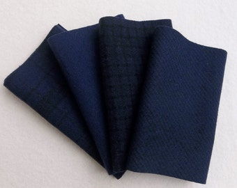"""Hand Dyed Wool Felt, MIDNIGHT, Four 6.5"""" x 16"""" pieces in Deepest Navy Blue, Great for Backgrounds"""