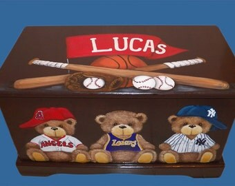 Custom Sports Teddy Bear Espresso Toy Box, Designed with your sport, wooden hand-made and painted chest, kids furniture, personalized