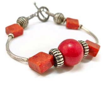 ON SALE Silver Bracelet, Sponge Coral Bracelet, Curved Tube Bracelet, Women's Bracelet, OOAK