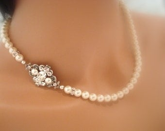 Bridal pearl necklace, Wedding necklace, Bridal jewelry, Vintage style necklace, Swarovski crystal necklace, Wedding jewelry, ASHLYN