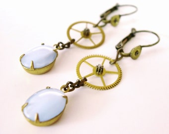 Steampunk Earrings, Blue Glass Dangles, Watch Gears