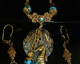 Handmade Seahorse Ocean Jasper Necklace Set in the Victorian Style