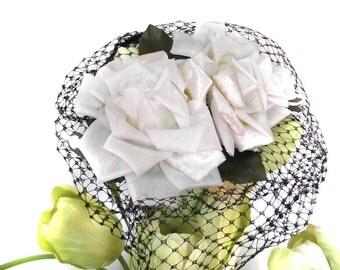 Vintage Floral Hat Accessory 50s Hat Fascinator Accent