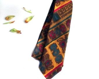 60s Skinny Tie / Vintage Necktie in Batik Tribal Style