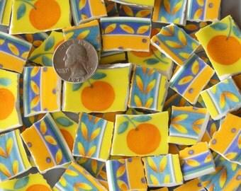 Mosaic Tiles - Bright Tropical ORANGE Tesserae - Mosaic Plate Tiles - Broken China - FREE Shipping - ALLBellaJewels