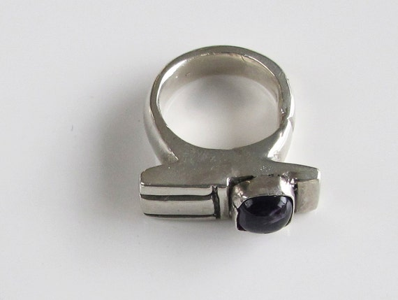 Purple Amethyst Ring: Bold Sterling Setting