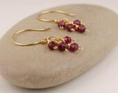 Garnet earrings, tiny garnet dangle earrings, handmade, gold wire wrapped earrings, minimalist, January birthstone, red earrings - Pixie