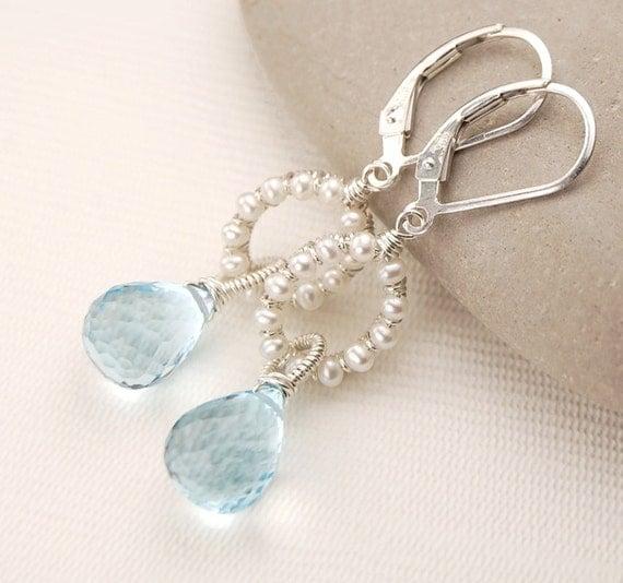 "Blue topaz and white pearl earrings, sterling silver, handmade ""Celeste Skye"" bridal jewelry, something blue, leverback earrings"