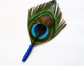 Feather Peacock Boutonniere or Lapel Pin for the Groomsmen with Royal Blue Wrap - SIMPLICITY