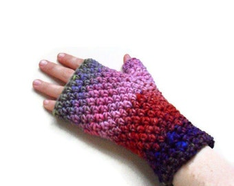 On Sale Fingerless Mitts gloves arm warmers - Peony OOAK Pure Wool Autumn Fall Winter Fashion Ready to ship
