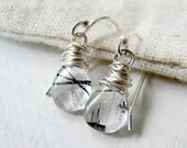 Sterling Silver Wirewrapped Black and White Tourmalated Quartz  Earrings