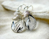 Sterling Silver Wire Wrapped Black and White Tourmalated Quartz Earrings