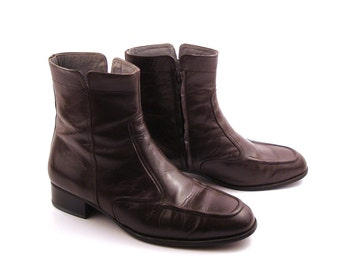 Boots Ankle Vintage 1980s  Short Brown Leather Euro Beatle Men's size 9 1/2