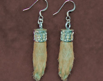 RABBIT FEET EARRINGS real rabbit foot taxidermy jewelry inspired by Black Forest hunting trophy relics