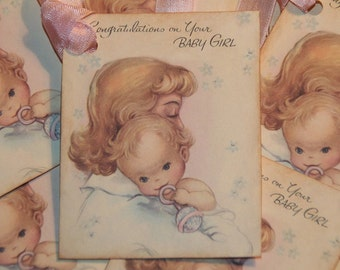 Congratulations on Your Baby Girl  Gift Tags - Baby Shower Tags - New Baby Girl