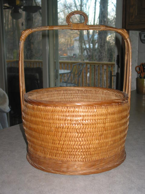 How To Weave A Cane Basket : Vintage wicker cane woven basket wooden bamboo handle straps