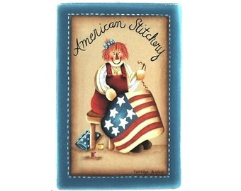 American Flag Stitchery Hand Painted Wood Plaque 212