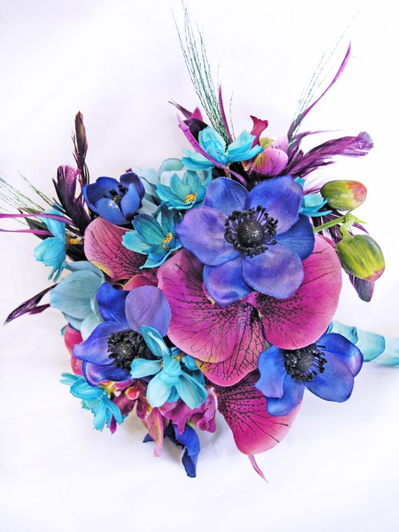 Items Similar To Blue Turquoise Purple Wedding Flowers Bridal Bouquet On Etsy