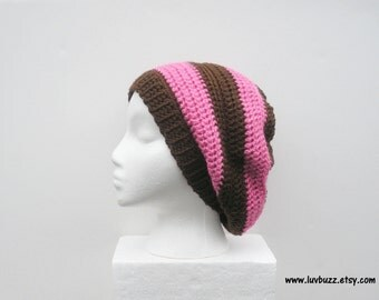 SALE, Pink and Brown Striped Crochet Slouch Hat, ready to ship.