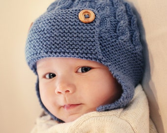 Baby Aviator Hat PDF Knitting Pattern,  Cabled Aviator Hat Pattern, Baby Earflap Hat Pattern Download, Baby Knit Hat Pattern, DAYTON