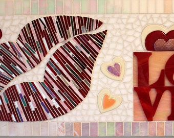 CLEARANCE SALE:  Mosaic, Glass, Love, Valentine, Hearts, Love Park, Red, White