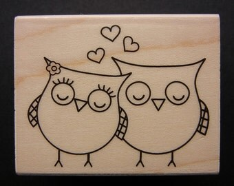 HEART OWLS  Hero Arts Rubber Stamp