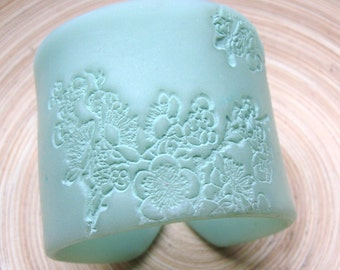 SALE Mint Green Pastel, Jade Style Asian Floral Cuff Bracelet, Handmade Jewelry by theshagbag on Etsy