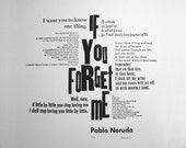 "Pablo Neruda Letterpress Print by Miss Cline Press: ""If You Forget Me"", art in wood type, metal type, cotton paper, black, love print"